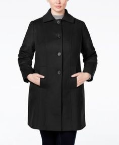 Anne Klein Plus Size Wool-Cashmere Single-Breasted Walker Coat, Only at Macy's - Black 20W