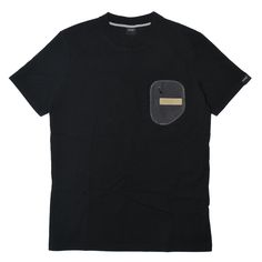 Grey Velvet Zip Pocket Tee - Black