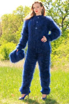 New hand knitted blue mohair catsuit sweater SUPERTANYA fuzzy ski bodysuit SALE Fluffy Sweater, Mohair Sweater, Mohair Yarn, Vintage Ski, Catsuit, Sweater Outfits, Girl Outfits, Gros Pull Mohair, Big Wool