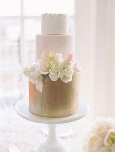 Gold and Blush Tiered Fondant Wedding Cake   Buttercream Bakeshop   Abby Jiu Photography https://www.theknot.com/marketplace/abby-jiu-photography-washington-dc-613164