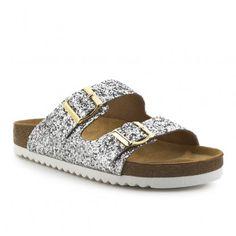 Sandalia bio plana glitter FOSCO Ugly, Birkenstock Arizona, Glitter, Sandals, Shoes, Fashion, Flat Sandals, Zapatos, Silver