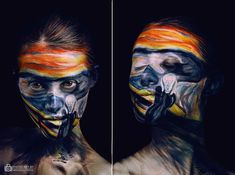 Body Painting and Famous Art come Together - Edvard Munch – The Scream. Body Painting and Famous Art come Together. To see more art and inform - Edvard Munch, Scream, Le Cri, Viking Tattoo Design, Sunflower Tattoo Design, Model Face, Art Plastique, Famous Artists, Face Art