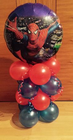 Spiderman Birthday Party Balloon-Table Display-Air Fill.