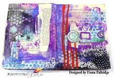 Art journal spread by Fiona Paltridge Journal Paper, Art Journals, Art Journal Backgrounds, Witch Doctor, Altered Art, Mixed Media, Dots, Bullet Journal, Scrapbook