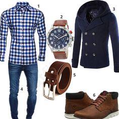 Kariertes Hemd, Mantel und Timberland Boots (m0601)