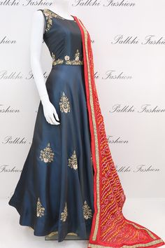 Elegant Navy Blue Satin Silk Hand Work Outfit With Pure Bandhani Dupatta Dress Indian Style, Indian Fashion Dresses, Indian Gowns, Indian Designer Outfits, Indian Outfits, Designer Dresses, Indian Wear, Indian Clothes, Saree Fashion