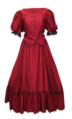 Antique Satin Day Suit - Red [003826W]