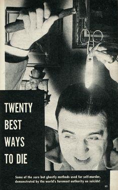 """emigrejukebox: """"""""Twenty Best Ways to Die,"""" Vue, December 1954 """""""