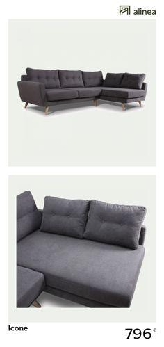 alinea :  icone canapé d'angle fixe droit en tissu gris   canapés tous les canapés canapés d'angle   - #Alinea #Décoration #Canapé - inspiration meubles et déco Angles, Vintage Design, Decoration, Couch, Inspiration, Furniture, Home Decor, Grey Fabric, Law