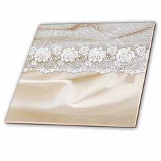 3dRose Uta Naumann Vintage Lace Collection - White Floral...