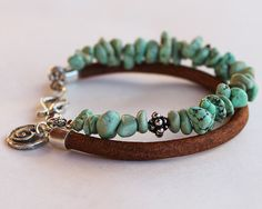 Turquoise silver bracelet Turquoise nugget, silver and leather Sundance style multistrand bracelet Leather Jewelry, Boho Jewelry, Jewelry Crafts, Gemstone Jewelry, Beaded Jewelry, Jewelery, Jewelry Bracelets, Silver Jewelry, Jewelry Design