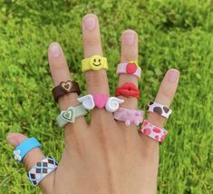 Fimo Ring, Polymer Clay Ring, Cute Jewelry, Jewelry Crafts, Diy Clay Rings, Cute Clay, Cute Rings, Clay Charms, Clay Creations