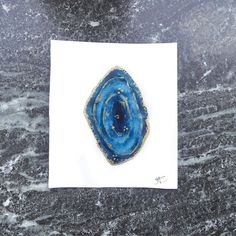 Blár Agate Slice Original | Hrefna - Aquarelle originals and prints