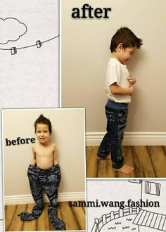 Adult pants that is too ugly or way out of style for you to wear? No problem, old pants plus some fabric scraps, let's upcycle into new fashionable kids pants. Fashion Wear, Kids Fashion, Fashion Design, Little Presents, I Wan, Fashionable Kids, Kids Pants, Belly Dancers, Out Of Style