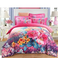 European style Pure cotton Plants and flowers [A family of four](1Duvet cover 1Flat sheets 2Pillow)-A King