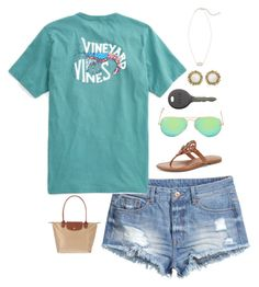 """Fútbol"" by southernprep52 ❤ liked on Polyvore featuring H&M, Tory Burch, Ray-Ban, Cherokee, Longchamp and Kendra Scott"