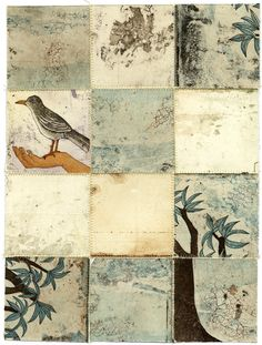 Piia Lehti: Collection No stitched graphic, 2014 Mixed Media Collage, Art Journal Inspiration, The Conjuring, Surface Design, Textile Art, Paper Art, Illustration, Textiles, Birds