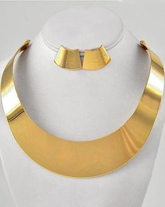 Sleek & Sultry Gold Wide Cleopatra Choker Collar Statement Jewelry Necklace Set