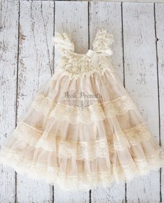 ivory flower girl dress lace flower girl dress por PoshPeanutKids