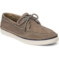 Sperry Top-Sider Cruz Suede 2-Eye Boat Sneaker ($70) found on Polyvore featuring mens, men's shoes, men's sneakers and taupe suede