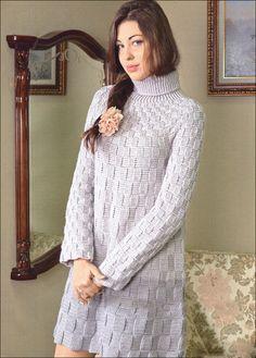 Hand knit square motif tunic dress, BANDofTAILORS, Etsy