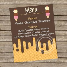 8x10 Printable Personalized Ice Cream Bar Menu / Ice Cream Social / Birthday Party Sign to Hang / Frame