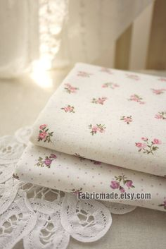 Rose Cotton Fabric Pink Purple Dots On White Shabby Chic Soft Two Layers Yard