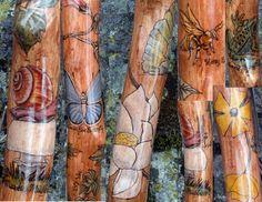 Nature Garden Walking Stick by StinnettStudio on Etsy.  detail