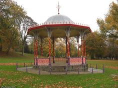 The colourful bandstand at Temple Gardens and Arboretum, Lincoln Then And Now Pictures, Temple Gardens, Middlesbrough, Lincoln, Britain, Gazebo, Garden Design, Restoration, Outdoor Structures