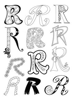 so many printable coloring pages here Doodle Fonts, Doodle Lettering, Creative Lettering, Lettering Styles, Brush Lettering, Lettering Design, Fancy Letters, Letters And Numbers, Bubble Letters