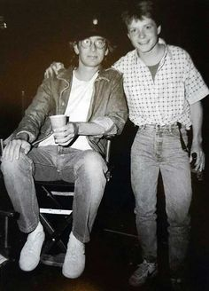 Steven Spielberg and Michael Fox on the set of 'Back to the Future', 1985