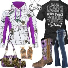 Check out for more camo fashion & jewelry (Tell Me I Can't Snow Camo Purple Hoodie Outfit - Real Country Ladies) Country Style Outfits, Country Wear, Country Girl Style, Country Fashion, Country Shirts, Country Life, Camo Outfits, Cowgirl Outfits, Western Outfits