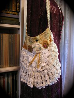 Crochet Doily Purse, soft cotton crocheted doilies, fabric roses, shabby and chic