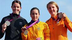Women's BMX medalists celebrate #Olympics Olympics