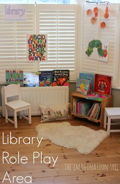 Library role play for early literacy -- great way to engage kids with books every day!