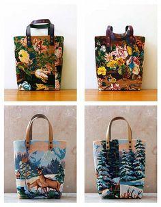 Les canevas des sœurs Sauvage Recyclage de canevas Sac / Tote bag / vintage design needlepoint