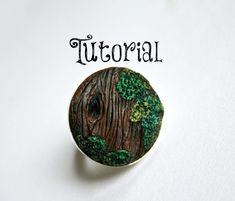 Wood Grain & Moss Polymer Clay Tree/Bark/Nature Ring Tutorial | Velvetorium