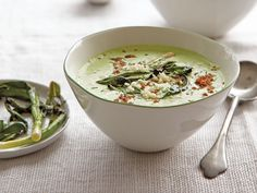 This tangy chilled soup is topped with charred scallions.