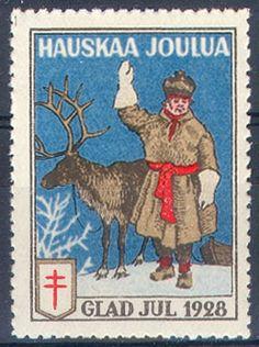 1928 Joulumerkki Christmas Tag, Mail Art, Postage Stamps, Finland, Retro Vintage, Nostalgia, Moose Art, Poster, Scrapbook
