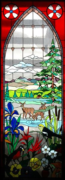 Deer, Mountain, Stream~Stained Glass Windows