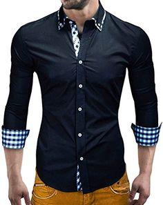MT Styles Hemd Slim Fit Kontrast BH-305 [Schwarz, L]