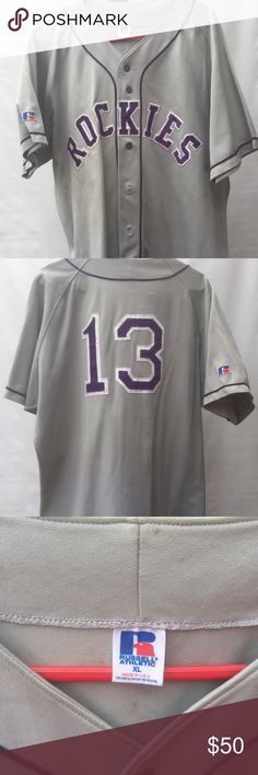 Vintage Colorado Rockies Men's XL Baseball Jersey Vintage Men's XL Colorado Rockies Baseball Jersey. Great jersey in excellent condition. Russell Shirts Casual Button Down Shirts