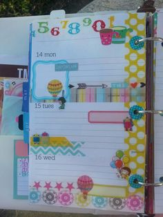 faux filofax filofax page personal planner page-like the sticker in the upper right- tea mugs! LOL