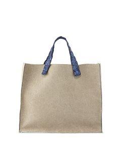 Nina Canvas & Crocodile Tote Bag