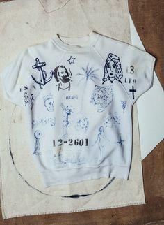 """tattooed """"lucky 13"""" sweatshirt"""