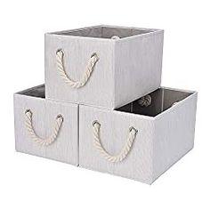 StorageWorks Storage Bins with Cotton Rope Handles, Foldable Storage Basket, White, Bamboo Style, inches (LxWxH) Closet Storage Bins, Collapsible Storage Bins, Modular Storage, Tote Storage, Storage Hacks, Craft Storage, Kitchen Storage, Storage Ideas, Decorative Storage Bins