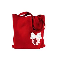 Alpha Chi Omega tote bag with white Greek monogram and bow. #AlphaChiOmega #AChiO