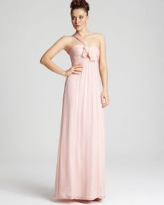 Pale Pink One-Shoulder Amsale Bridesmaid Dress