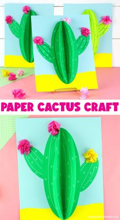 Paper Butterfly Crafts, Paper Crafts For Kids, Easy Crafts, Paper Cactus, Cactus Craft, Summer Crafts For Kids, Craft Projects For Kids, Daycare Crafts, Preschool Crafts