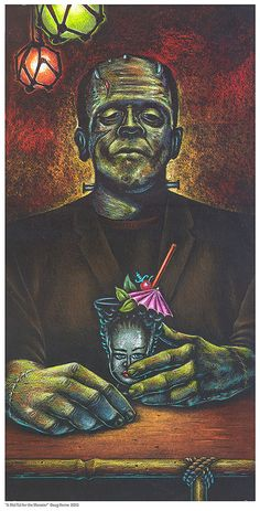 The Art of Doug Horne A Mai-Tai for the Monster  This is an open edition print of a color pencil and pastel drawing I did. Size is 8X10. It is signed and Printed on bright wight 61 lb 11 mil paper with archival inks. Ships rolled in a heavy mailing tube.